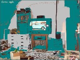 Fernseher in Wohnzimmer, stilisiert